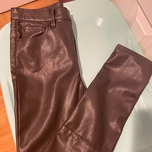 BDG Faux Leather Pants (chocolate/grey color)